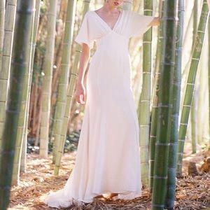 NEW Joanna August Pattie Empire Waist Crepe Gown 4